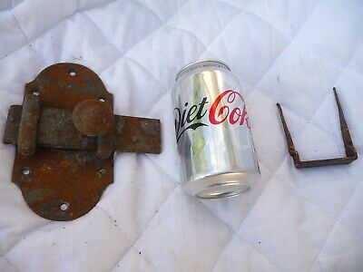 Vintage Large European Iron Sliding Lock Latch With Knock In Keep Heavy Duty.