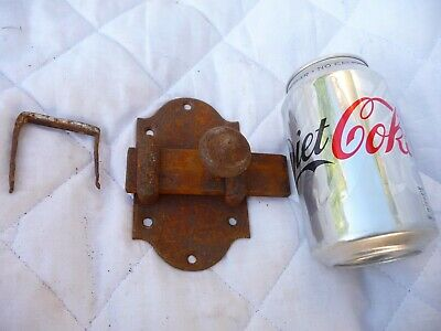 Vintage Old European Iron Sliding Lock Latch With Knock In Keep Heavy Duty.