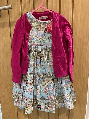 Girls Age 3-4 Outfit Dress Cardigan Cath Kidston Monsoon Pretty Pink Blue