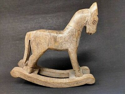 Antique Wooden Horse Toy Statue Figure Sculpture Hand Carved Painted Figurine