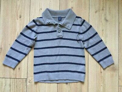 Baby Gap, Boy's Blue/Grey striped knitted jumper  (3 yrs), pre-owned.