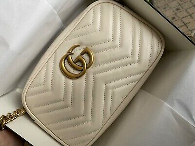 BRAND NEW GUCCI GG Marmont Small Matelassé Shoulder Bag White Leather Authentic