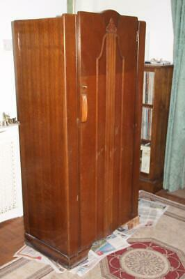 Gent's single wardrobe, c1940s, 157 x 77 x 46cm, some damage (collect only)