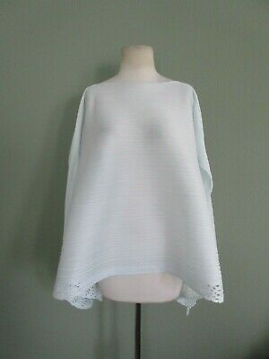 PLEATS PLEASE ISSEY MIYAKE off white oversized pleated drapy top OS
