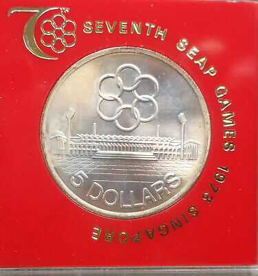 Singapore 1973 7th SEAP Games  5  Dollar Silver coin UNC cased