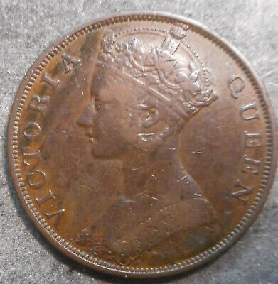 Hong Kong  1866 Victoria  1 Cent Coin Nice Good detail