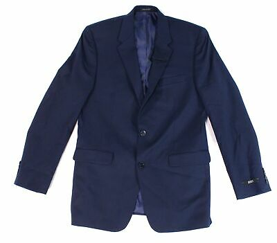 Alfani Solid Navy Blue Mens Blazer Size 40 Long Two Button Regular Fit $360 041