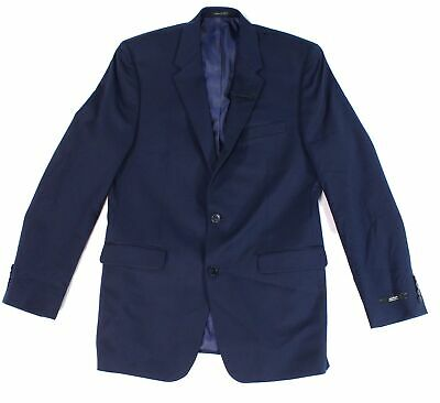 Alfani Solid Navy Blue Mens Blazer Size 40 Short Two Button Regular Fit $360 042