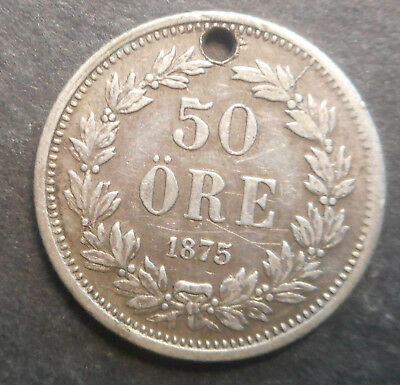 Sweden  1875 50  Ore Silver Coin Holed Better Detail
