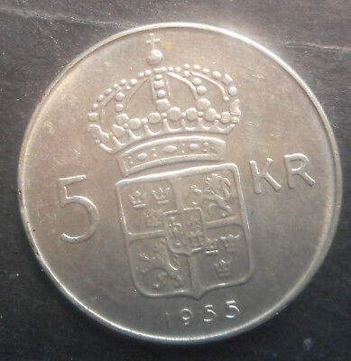Sweden  1955 5 Kronor  Silver Coin aUNC