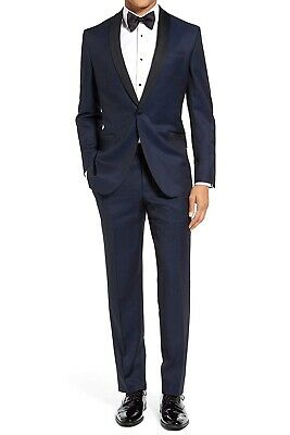 London Fog Mens Suits Blue Size 54 Modern Fit One-Button Tuxedo $299 568 569