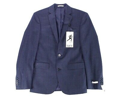 Bar III Mens Blazer Blue Size 44 Two Button Active-Stretch Slim-Fit $425 112