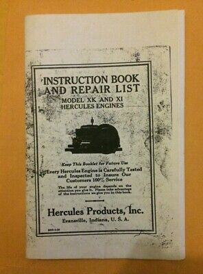 Hercules Model XK and XI Instruction Book and Repair list hit or miss engine