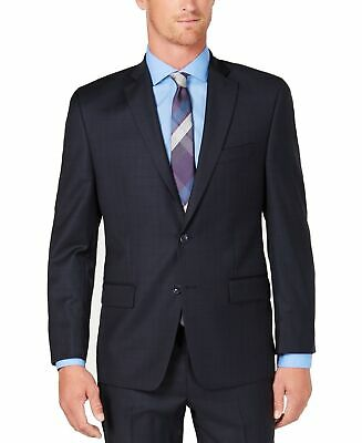 Michael Kors Mens Blazer Navy Blue Size 40R Windowpane Two Button Wool $600- 128