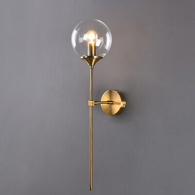 Mid Century Modern Globe Glass Wall Sconce Wall Light in Antique Brass Finished