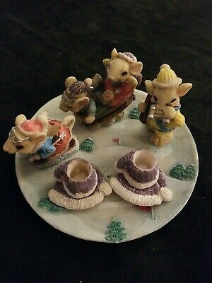 9 pc Resin Miniature Mouse Mice Skiing Sledding Winter Snow Tea Party Set