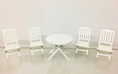 Beautiful Dollhouse Miniature Furniture Chair Round Table Garden Set Real Wood