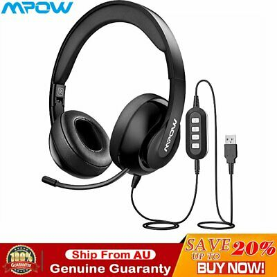 Mpow 224 3.5mm/USB Wired Headphones Foldable Microphone Gaming Business Headset