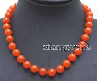 """Genuine 10mm Natural China Red Round Jade Necklace for Women Chokers 17"""" n5988"""