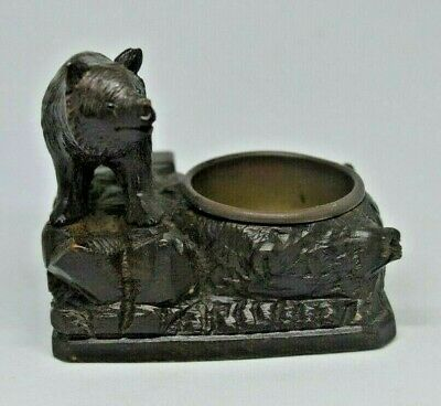 Antique Swiss Black Forest wood carved bear match holder
