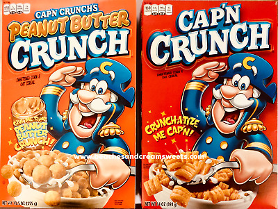 2 Boxes Captain Crunch Cotton Candy OR Peanut Butter American Breakfast Cereal