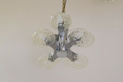 Eight Arms Amazing Nickel Platend Chandelier Around, 1960s