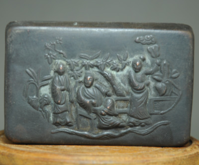 china old hand-made copper Hand carving maidservant statue Chinese ink box Bb01F