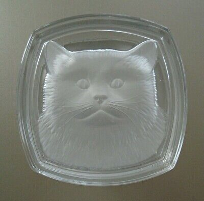 Cristal d'Arques Frosted Glass Intaglio Kitty Cat Lead Crystal Trinket Box
