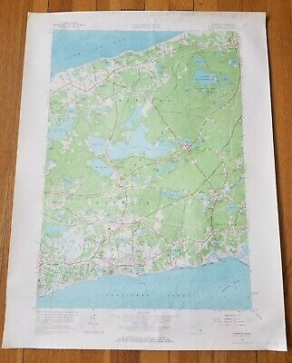 """Vintage 1961 Harwich and Brewster Cape Cod Mass  Geological Survey Map 22""""x 27"""""""