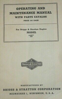 Vintage Briggs&Stratton Key And Model 5S Gas Engine Operating&Maintenance Manual