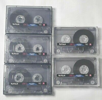 5 Fuji Used Blank Audio Cassette Tapes Wiped Clean 90 Mins