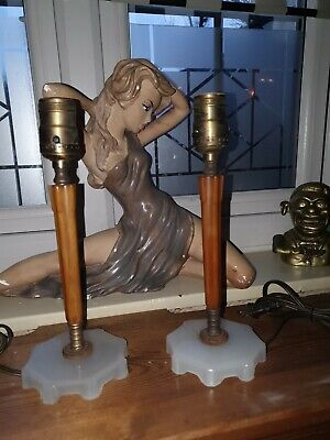 Antique Pair Vintage Art Deco Catalin Bakelite Phenolic Bedroom Table Lamp