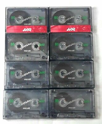 8 Maxell Original Used Blank Audio Cassette Tapes UR 90 Mins Wiped Clean