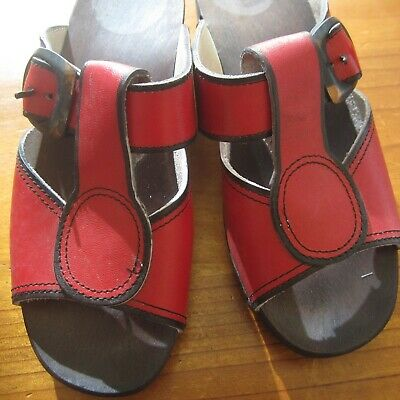 VINTAGE Wood Clogs Sandles Red Leather 1960s 1970s 23cm as new Handmade Retro