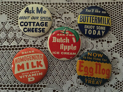 5 Vintage G.P. Gundlach & Company Assorted Advertising Dairy Pinback Button Lot
