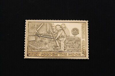 USPS First Man On The Moon Postage Stamp 0.5 oz Sterling Silver Ingot