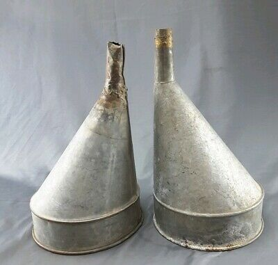 2 Vintage Galvanized Metal Gas Funnel Rustic Decor Steampunk Industrial Country