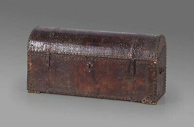 Impressive 18th century Italian studded leather storage trunk