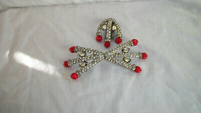 Vintage Antique Belt Buckle With Matching Brooch Rhinestone  &  Red Beads   B6