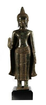 Antique Khmer Style Bronze Standing Abhaya Protection Buddha Statue - 49cm/20""