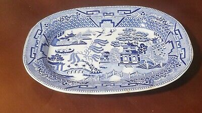 """Large Antique Warranted TG Blue Willow Platter  11.5""""x14.5"""""""