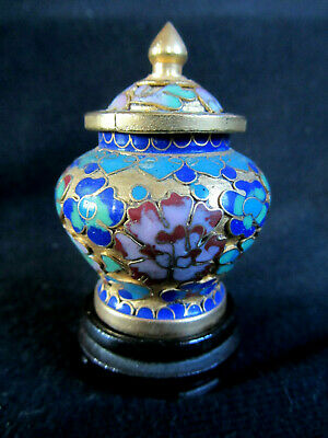 Miniature Vintage Cloisonne Pot with Finial Lid and stand; Gilt ground; Pretty