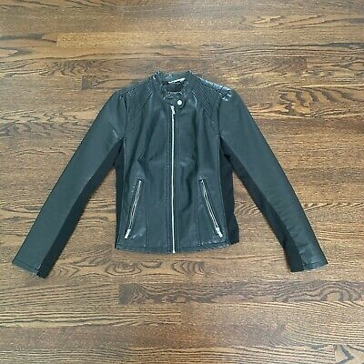 Minus The Leather Double Peplum Jacket Vanilla Med Retail $128 New Express