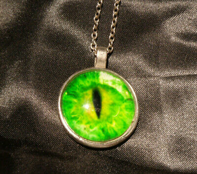 CAT EYE DRAGON GREEN EYE Glass Pendant Necklace Steampunk Silver Tone Gothic