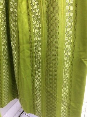 Vintage Retro 60s 70s Abstract Curtains X 2 Moss Green , Mid Century