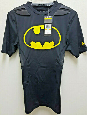 Under Armour Mens Medium Football Compression 5 Pad  Batman Shirt New With Tags