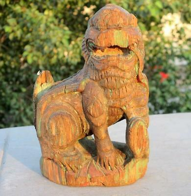 1850's Antique Old Hand Carved Wooden Polycrome Yali Lion South Indian Figure