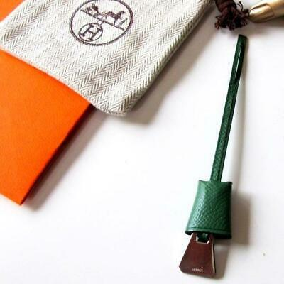 Hermes Green Mini Clochette Epsom Bag Charm, New!