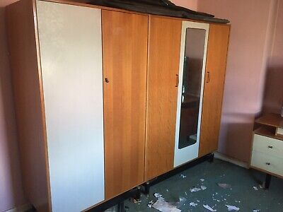 Vintage Mid Century G Plan / E Gomme Triple Wardrobe with Mirror / Lights