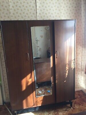 1950s Mid Century G Plan / E Gomme Triple Wardrobe with Mirror / Sliding Doors